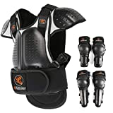 RIDBIKER Kids Motorcycle Armor Suit Dirt Bike Chest Spine Protector Back Shoulder Arm Elbow Knee Protector Body Armor Vest,Silver/Black (Silver, M:(Height:45.27'-51.18'))