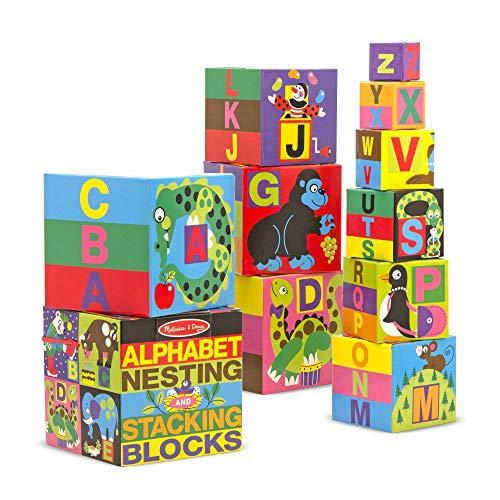 Melissa & Doug Alphabet Nesting and Stacking Blocks (Developmental Toys, Easy Storage, 10 Cardboard Nesting Boxes, Great Gift for Girls and Boys - Best for 2, 3, and 4 Year Olds)