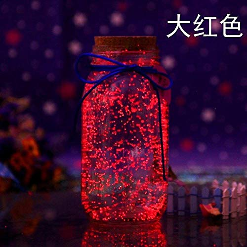 Lichtgevende ster fluorescerende pot paar met deksel transparant verse sticker glazen fles-groot rood