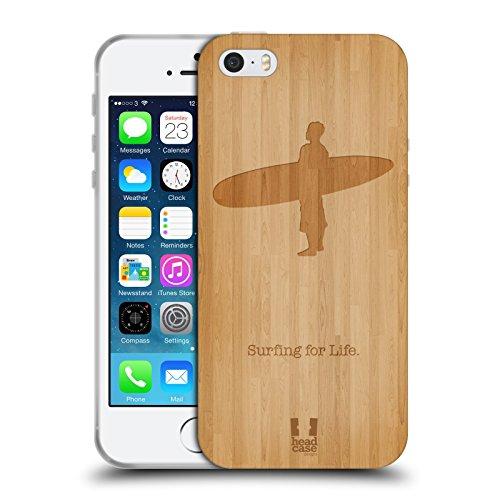 Head Case Designs Surf Wood Sport Estremi Collezione 2 Cover in Morbido Gel e Sfondo di Design Abbinato Compatibile con Apple iPhone 5 / iPhone 5s / iPhone SE 2016