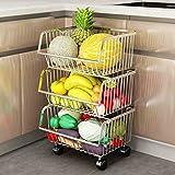 Yxx max *Carrito verdulero Cocina Cestas de Almacenamiento de electrodomésticos de Acero Inoxidable para el hogar, cestas de Almacenamiento, cestas de Frutas y Verduras