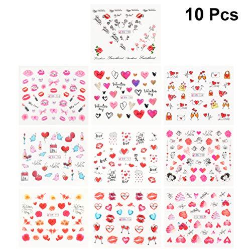 Frcolor 10 Feuilles St Valentin Nail Art Autocollant Nail Art Estampage Plaques Kit Happy Valentines Nail Tip Stickers Plaque