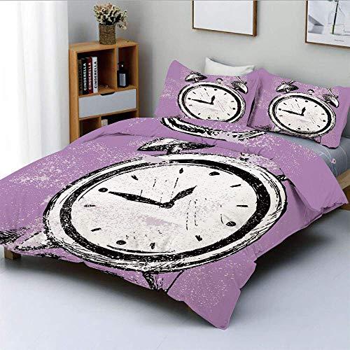 Juego de funda nórdica, figura de reloj despertador retro con efectos grunge, gráfico clásico para dormir, juego de cama decorativo de 3 piezas con 2 fundas de almohada, morado, blanco y negro, el mej