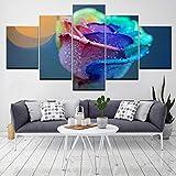 LWJPD Cuadro en Lienzo Las Coloridas Flores Rosas 5 Piezas HD Wallpapers Art Canvas Print Poster Moderno Pintura De Arte Modular para Sala De Estar Decoración del Hogar 60 Inch