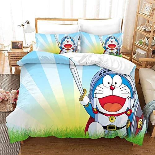 POPCC Doraemon: Doraemon Soldier Costume 1009 Bedding Sets, Duvet Cover Sets, for Otaku and Anime Fan's Room 3Pcs 1 Quilt Cover & 2 PillowcasesEU King(240x220cm)