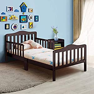 Costzon Toddler Bed, Classic Design Rubber Wood Kids Bed w/Double Safety Guardrail for Children Bedroom Furniture, Kids Room, Parent Room, Fits Crib Mattress, Gift for Toddler Boys & Girls, Cherry