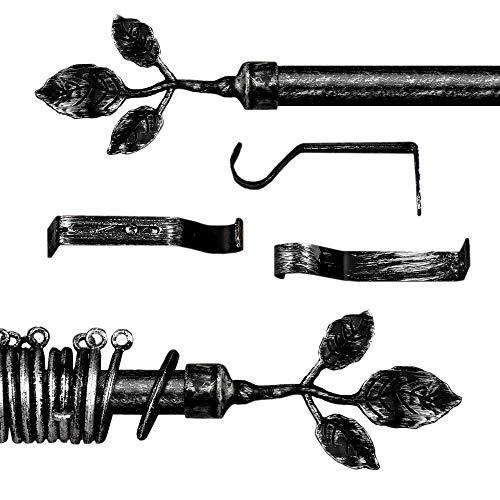 AT17 Gardinenstange Vorhangstange Gardinenstange Variable Länge Landhaus Shabby Chic - Blumen - 160-300 - Durchmesser 2 cm - Schwarz/Silber - Metall