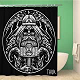 Awowee Decor Viking Norse God Thor Hammer and Two War Goats - Cortina de Ducha (180 x 180 cm, poliéster, Impermeable, con Ganchos)