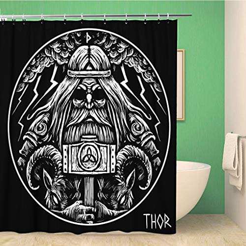 Awowee Decor Viking Norse God Thor Hammer and Two War Goats