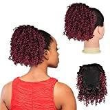 Drawstring Ponytail Afro Kinky Curly Ponytail for Black Women, PEACOCO 6 Inch Afro Puff Ponytail Extensions Jerry Curls Synthetic Hair with 2 Combs and Elastic Net (1B/118#)