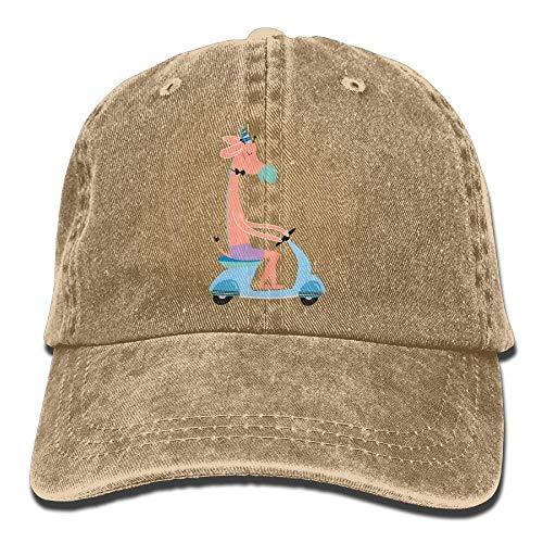 SOOPTY Cute Giraffe on Scooter Denim Hat Adjustable Women Tactical Baseball Hat Caps