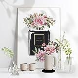 ZYQYQ Póster de mujer Perfume negro flor pared arte lienzo pintura carteles nórdicos niñas habitación decoración 30x45 cm x 1 sin marco