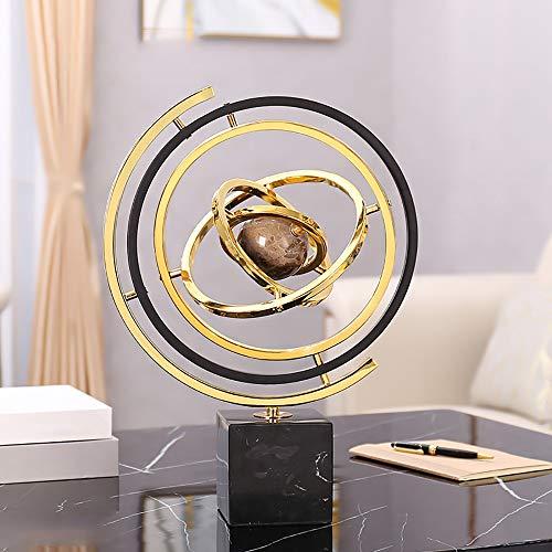 XFSE Decoración para el hogar Creative Mármol Globo Nórdico Sala Librería Lujo Accesorios para el Hogar Decoración Anillo Puede Rotar 360 Grados 31,5 * 10 * 43,5 cm