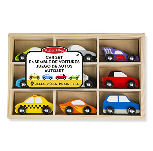 Melissa & Doug- Wooden Cars Set-9 Pieces Car, Multicolor (13178)