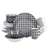 vancasso Haruka 20 Pieces Dinnerware Set Porcelain Patterned Grey Japanese Style Crockery Dinner Set with 10.6' Dinner Plate 8.5' Soup Plate 8.5' Dessert Plate 6' Bowl 13oz Mug,Service for 4