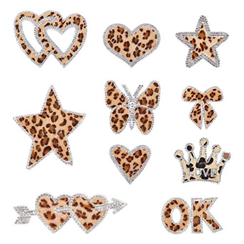 FINGERINSPIRE 10 Pack Leopard Rhinestone Patches Delicate Embroidered Patches with Different Shapes,Iron On Patches for Clothes, Dress, Hat,Jackets,Jeans, DIY Accessories
