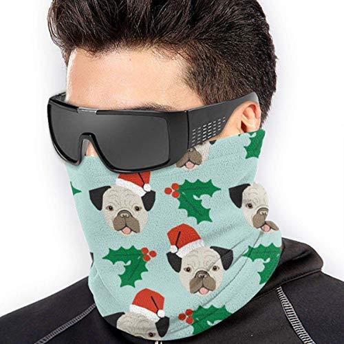 ShiHaiYunBai Tour de Cou Cagoule Microfibre Chapeaux Tube Masque Visage, Christmas Pug Dog Soft Neck Warmer Gaiter Face Protective Scarf Balaclavas Unisex