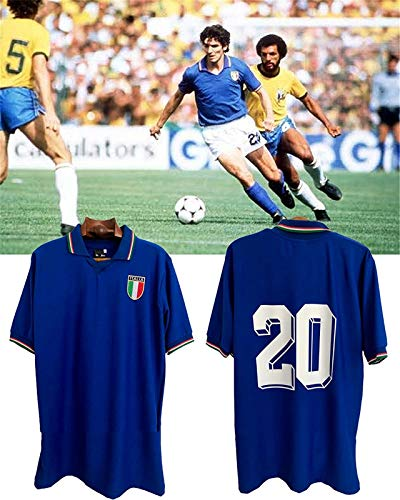 Paolo Rossi Maglietta da Calcio T-Shirt, Maglia Italia Coppa del Mondo Paolo Rossi, Italia 1982 Magliette Coppa del Mondo da Calcio Uomo Retro Commemorative Jersey, Maglia Calcio (XL)