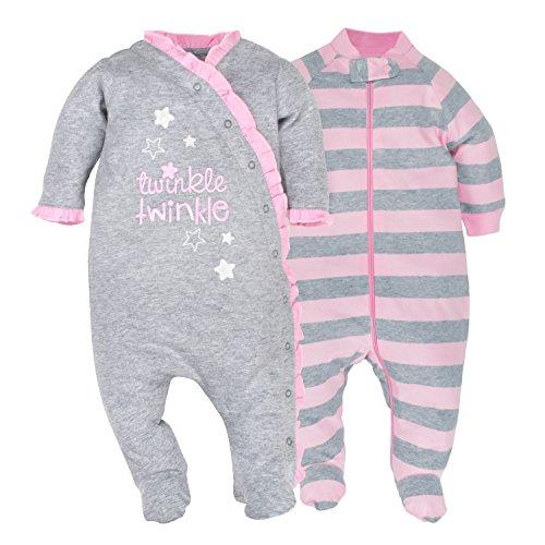Gerber Baby Girls' 2-Pack Organic Sleep 'N Play, Grey/Light Pink, 0-3 Months