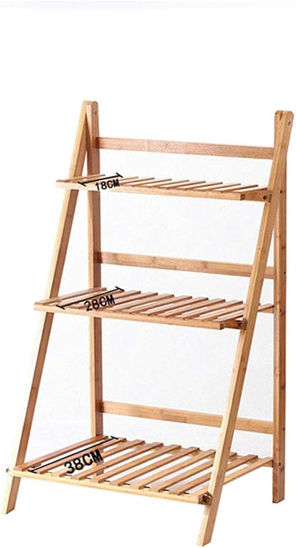Plant Container 3 Tier Flower Shelf Pot Rack Folding Bamboo Plant Stands Garden Holder Display Shelf Ladder Outdoor Indoor