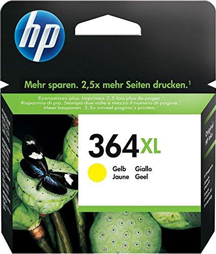 HP 364XL CB325EE Cartuccia Originale ad Alta Capacità, 750 Pagine, per Stampanti a Getto di Inchiostro Photosmart B210c, B110c, B110e, B8550, 7520, Deskjet 3520, 3522, 3524, Giallo