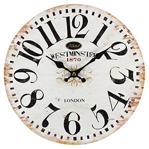 perla pd design Glaswanduhr Quarzuhr Vintage Design Westminster ca. Ø 30 cm