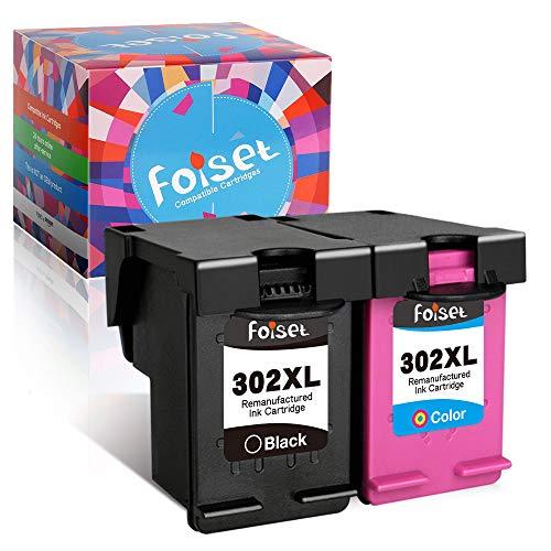 Foiset Sostituzione cartucce d'inchiostro rigenerateper HP302 302XL per Deskjet 3630 2130 3630 3634 Envy 4520 4521 4524 4527 Officejet 3831 3830 3833 3835 4650 5232 5220 5230