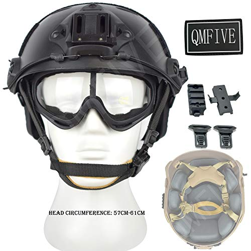 QMFIVE Airsoft Helm PJ Mode Helme Leichtbau Taktische Schnelle Helm und Schutzbrille für Airsoft Paintball (Schwarz)