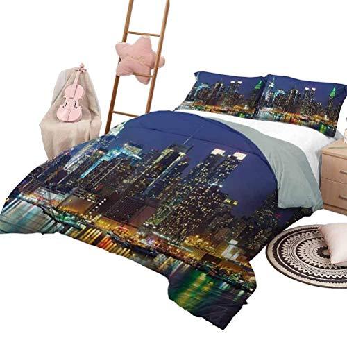 Funda nórdica de Nueva York Skyline de la ciudad de Nueva York en rascacielos nocturnos Increíble metrópolis Ciudad Estados Foto Funda nórdica lavable Azul real con 2 fundas de almohada, tamaño Twin X