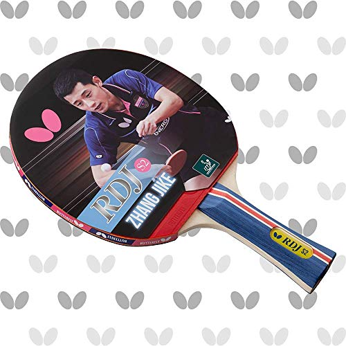 Butterfly RDJ S2 ITTF Approved Wooden Ping Pong Paddle Great Spin Speed & Control Table Tennis Racket- Red and Black