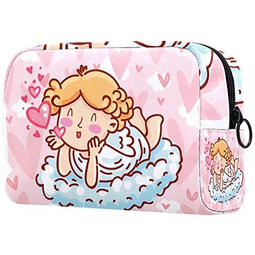 Schminktasche Portable Travel,Kleiner Engel mit Flügeln Bogenpfeiler Herzhintergrund ,Kosmetiktasche für Frauen,Beauty Zipper Makeup Organizer Bag