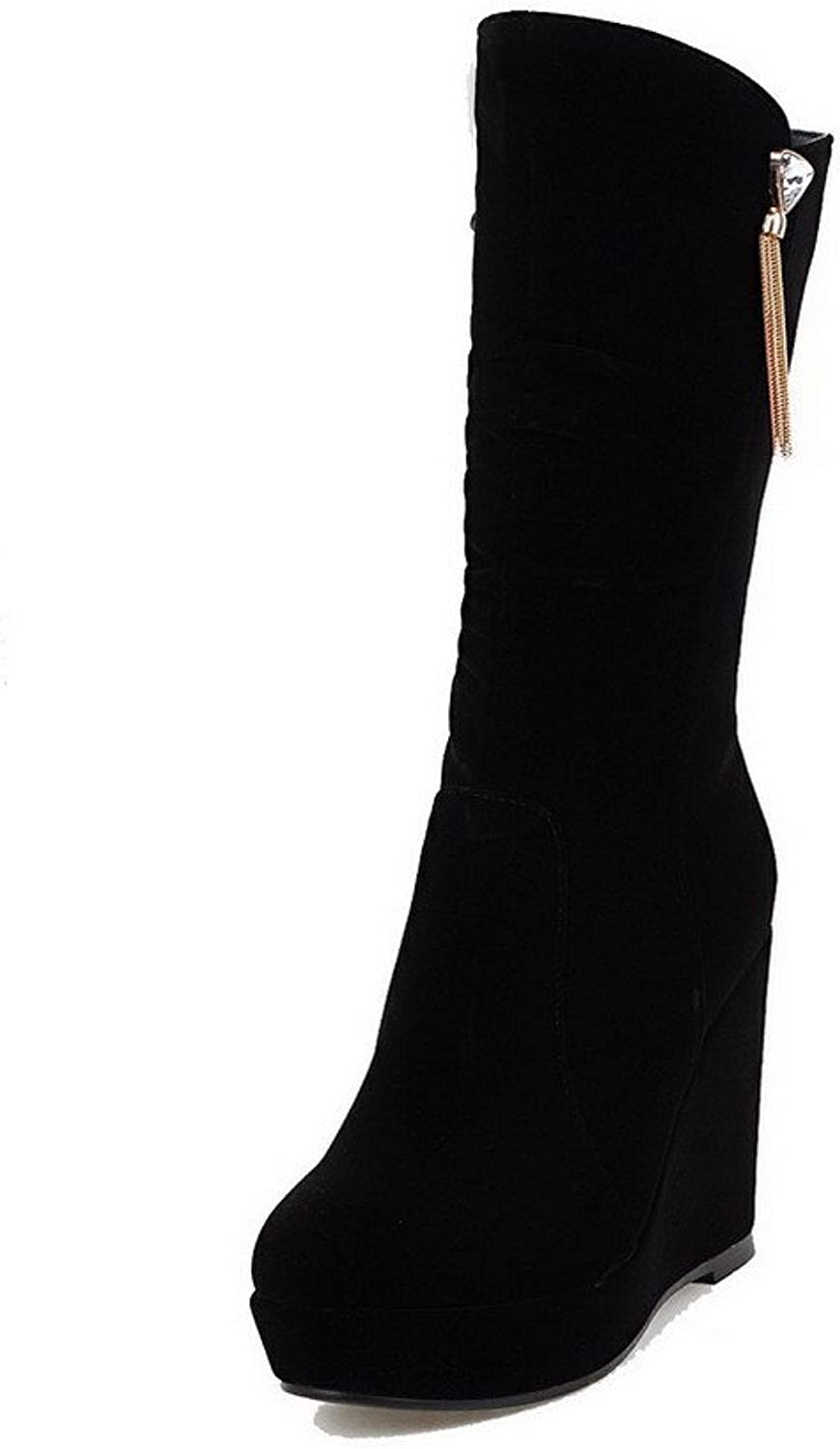 AllhqFashion Women's Frosted Zipper Closed Round Toe High-Heels Low-top Boots
