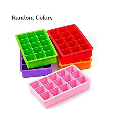 Vermida Silicone Ice Cube Trays, 15 Cubes per Ice Tray, Easy-Release and Flexible Ice Cube Mold for Whiskey, Cocktail or Iced Coffee, Dishwasher Safe, Random Color(Set of 2)
