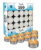 Hyoola Tea Lights Candles - 100 Bulk Candles Pack - Natural Palm Oil Tea Light - European Quality White Unscented Tealight Candles - 4 Hour Burn Time