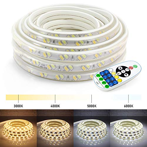 WYZworks LED Strip Lights, 25 ft 2-in-1 Warm White & Cool White Flexible Dimmable Lighting with Remote Controller Timer Adjustable Temperature 3000K | 4000K | 5000K | 6000K - 25, 50, 100 feet