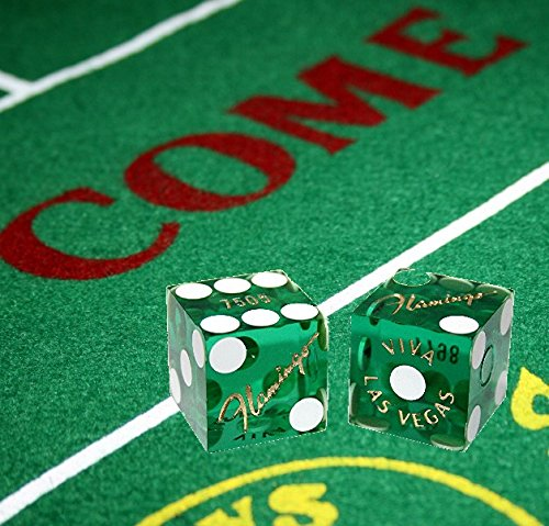 Cyber-Deals Wide Selection Craps Bundle Set: Las Vegas Style Felt Layout + Pair 19mm Authentic Nevada Casino Table-Played Dice (Flamingo (Green Polished))