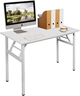 SogesHome Mesa de Escritorio Plegable para computadora 100 x 60 x 75 cm Escritorio para computadora Escritorio de Oficina Mesa de Escritura, Mesa de Conferencia, Blanco,AC5DW-100-SH