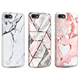 3 x Funda para iPhone 7/8/SE 2020 Mármol Silicone Suave Carcasa, Ultra Delgado Mate Case de IMD Marble Protección Antigolpes Anti-Rasguño y Resistente Huellas - Oro + Color Nude + Blanco