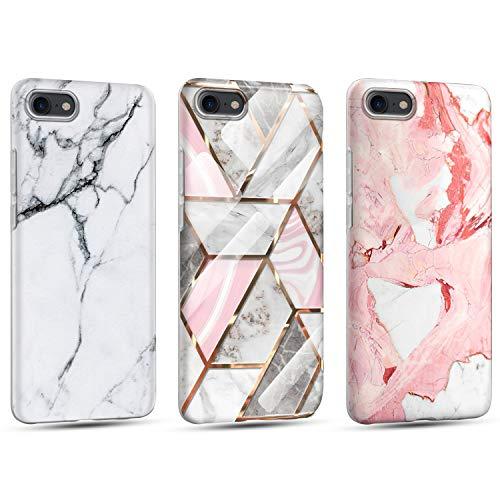Coque pour iPhone 7/iPhone 8/iPhone SE 2020, [Lot de 3] Silicone Motif Marbre Housse, Ultra Mince Flexible TPU Souple Bumper Case Antichoc Anti-Rayures Mat Marbre Étui Protection - Or + Rouge + Blanc