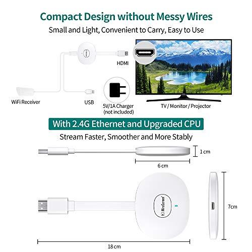 MPIO Wireless HDMI Display Dongle 4K, WiFi Streaming Dongle, Cast für iPhone/iPad/Android/iOS/Windows/Mac Laptop, Tablet, PC zu TV/Monitor/Projektor, Unterstützung von Airplay/Miracast/DLNA, Weiß