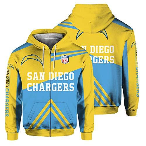 QWEIAS Sudadera con Capucha para Hombre - NFL Los Angeles Chargers Fans Casual Unisex Zipper Sweater Pullover Impresión 3D Primavera Otoño Chaquetas de Manga Larga L