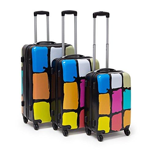 Relaxdays Set 3 Valige da Viaggio, Materiale Plastico e Diversi Motivi, 4 Ruote 360 G, Moderno