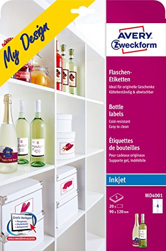AVERY Zweckform MD4001 Flaschenetiketten (120x90 mm auf DIN A4, selbstklebend, bedruckbare Flaschenaufkleber für Glasflächen, Inkjet-/Tintenstrahldrucker) 20 Etiketten für Flaschen auf 5 Blatt weiß