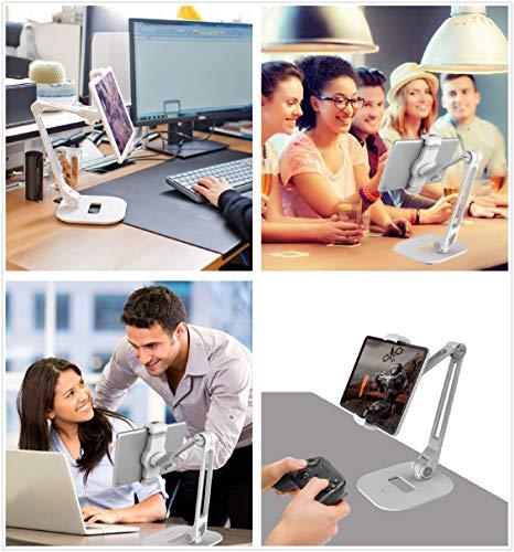 Ständer für iPad, Desktop-Tablet-Halterung mit schwerer Basis und 2-stufigem Metallarm, für 11,9-27,9 cm Tablets, E-Reader und Smartphones (weiß)