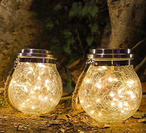 BaoST Solar Laterne Aussen, 30 LED Glas Solarlampen für Außen Garten Hängend Wasserfest Solar Gartenleuchten für Weihnachten, Garten, Balkon, Party, Hof, Hochzeit (Warmweiß, 1 Stück)
