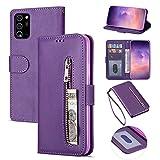 ZTOFERA Samsung A52 Hülle, Magnetisch Folio Flip Wallet Leder Standfunktion Reißverschluss schutzhülle mit Trageschlaufe, Brieftasche Hülle für Samsung Galaxy A52/A52 5G - Lila