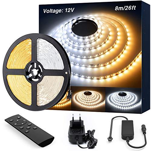 Ustarus LED Strip Streifen Dimmbar 8M Warmweiß 3000K Kaltweiß 6000K, LED Band Lichtband Strips mit Netzteil RF Fernbedienung 960 LEDs 2835 SMD 3 Modi 10 Helligkeit einfache Bedienung 12V