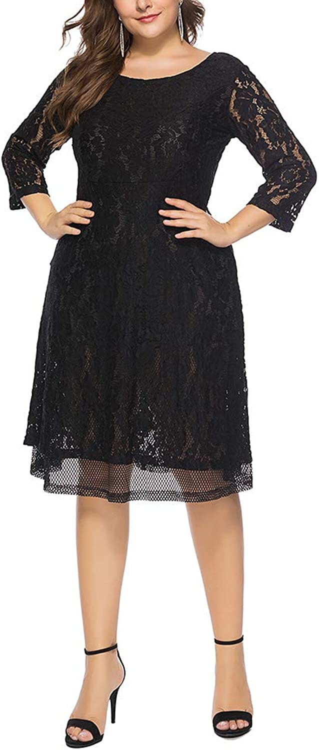 Women's Plus Size Slim Lace Solid Scoop Neck 3 4 Sleeve High Waist Casual Midi Dress,5XL