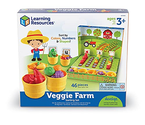 Learning Resources Veggie Farm Sorting Set  Food Sorting Game  46 Pieces  Ages 3+