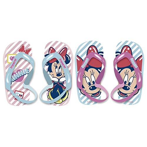 Familie24 Minnie Maus Flip Flops Badeschuhe Hausschuhe Kinderschuhe Zehentrenner Strandschuhe Sandalen (Band Rosa, 28)